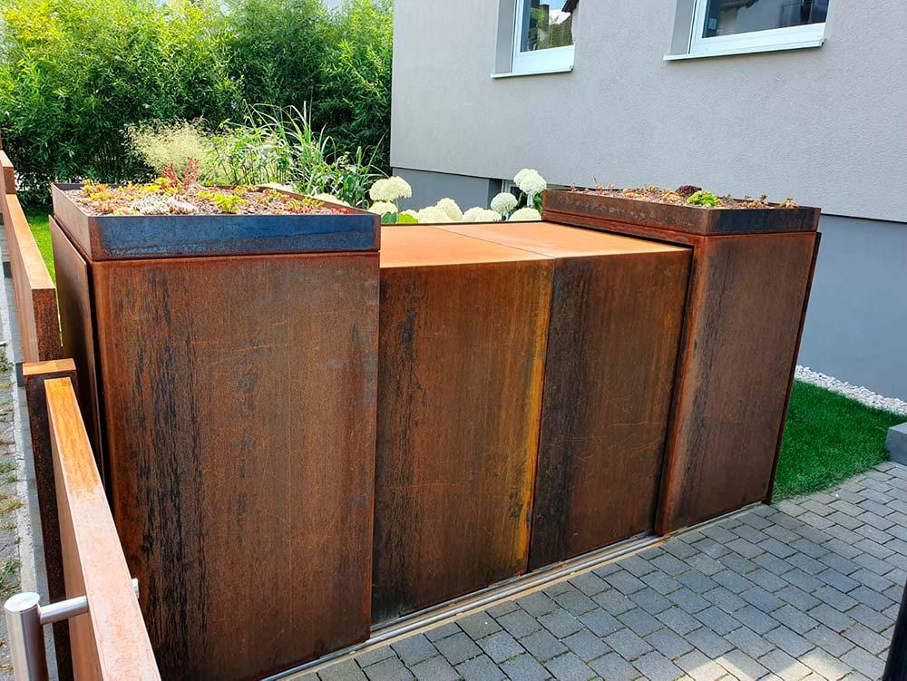 Designer Mülltonnen Box aus Cortenstahl